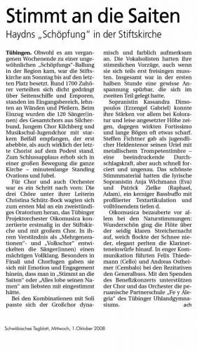 """Schwäbisches Tagblatt 2008 - """"Die Schöpfung"""""""