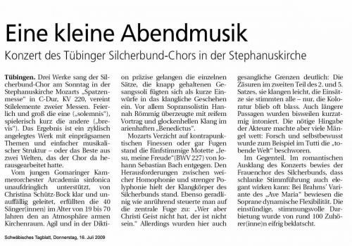 """Schwäbisches Tagblatt 2009 - """"Bach, Brahms, Mozart"""""""