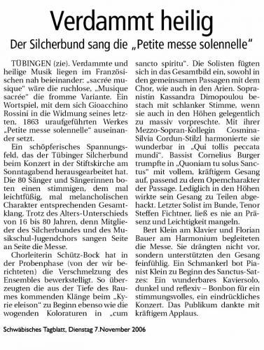 """Schwäbisches Tagblatt 2006 - """"Rossini"""""""
