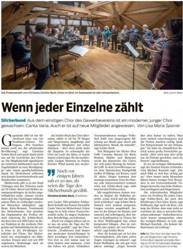 """Schwäbisches Tagblatt 2019 - """"Wenn jeder Einzelne zählt"""""""